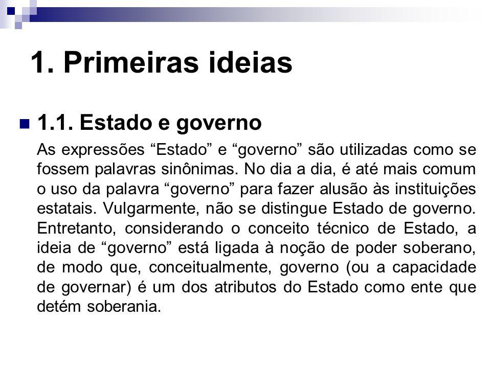 """1. Primeiras ideias 1.1. Estado e governo As expressões """"Estado"""" e """"governo"""" são utilizadas como se fossem palavras sinônimas. No dia a dia, é até mai"""