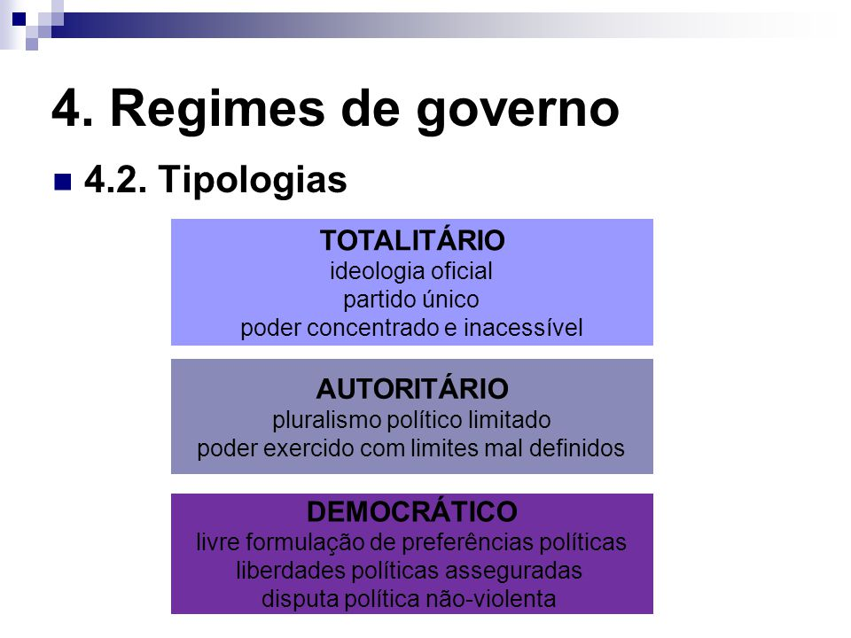 4. Regimes de governo 4.2. Tipologias TOTALITÁRIO ideologia oficial partido único poder concentrado e inacessível DEMOCRÁTICO livre formulação de pref