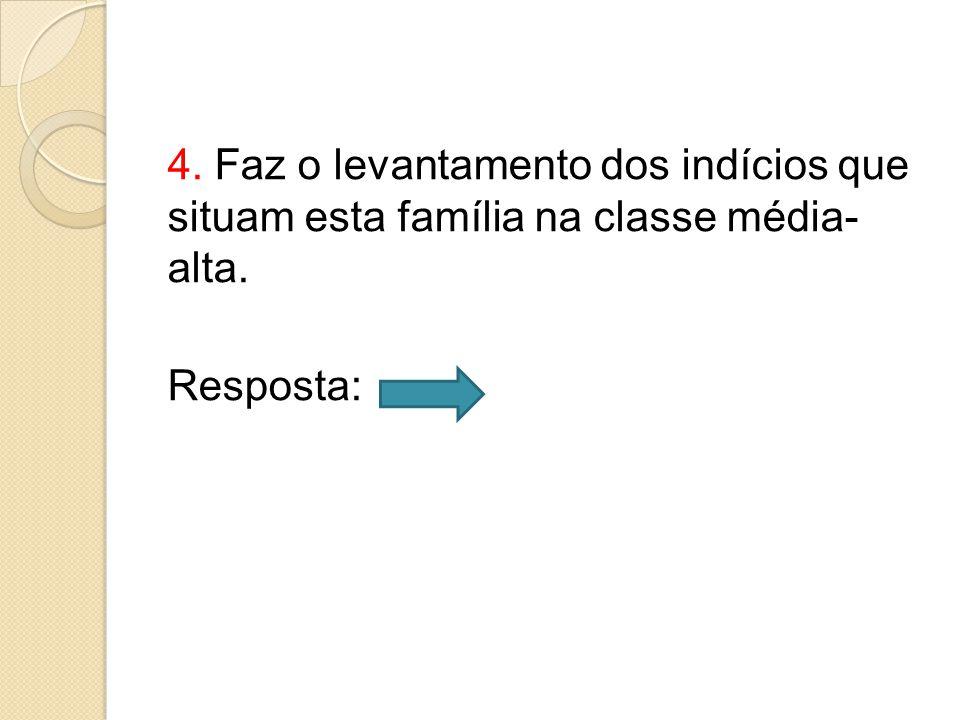 4. Faz o levantamento dos indícios que situam esta família na classe média- alta. Resposta: