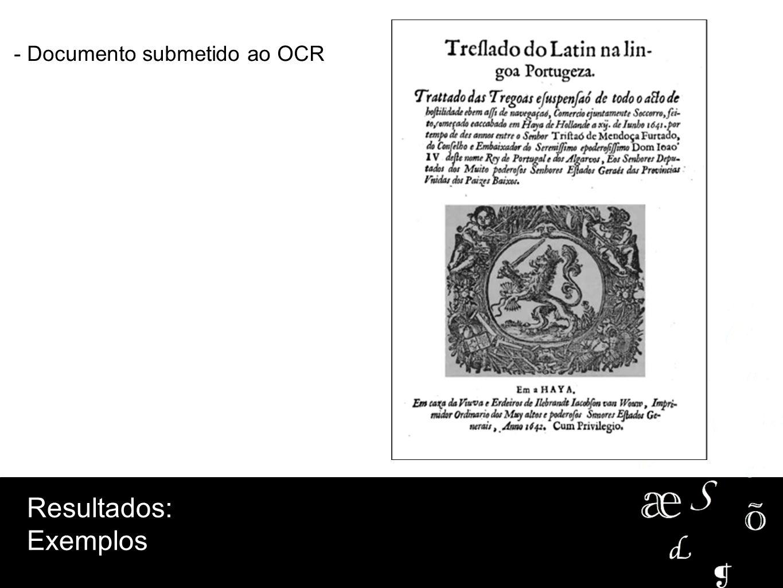 Resultados: Exemplos - Documento submetido ao OCR