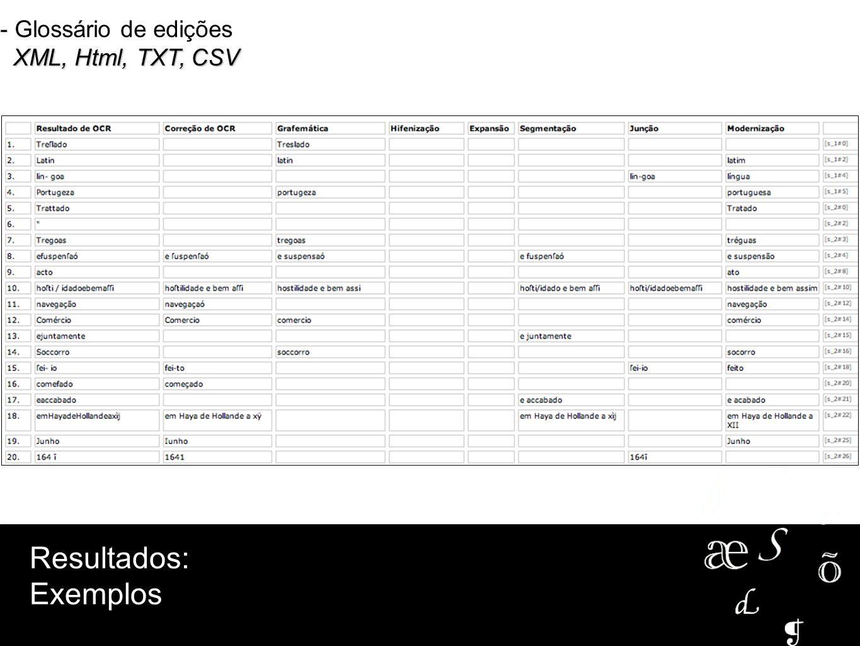 XML, Html, TXT, CSV - Glossário de edições XML, Html, TXT, CSV Resultados: Exemplos