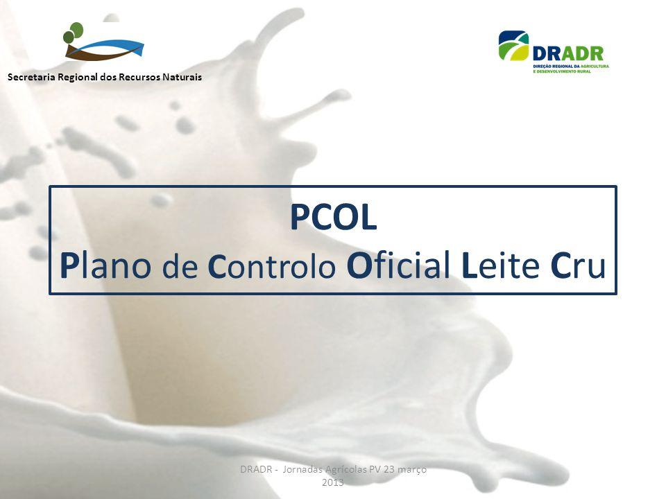 PCOL Plano de Controlo Oficial Leite Cru DRADR - Jornadas Agrícolas PV 23 março 2013 Secretaria Regional dos Recursos Naturais