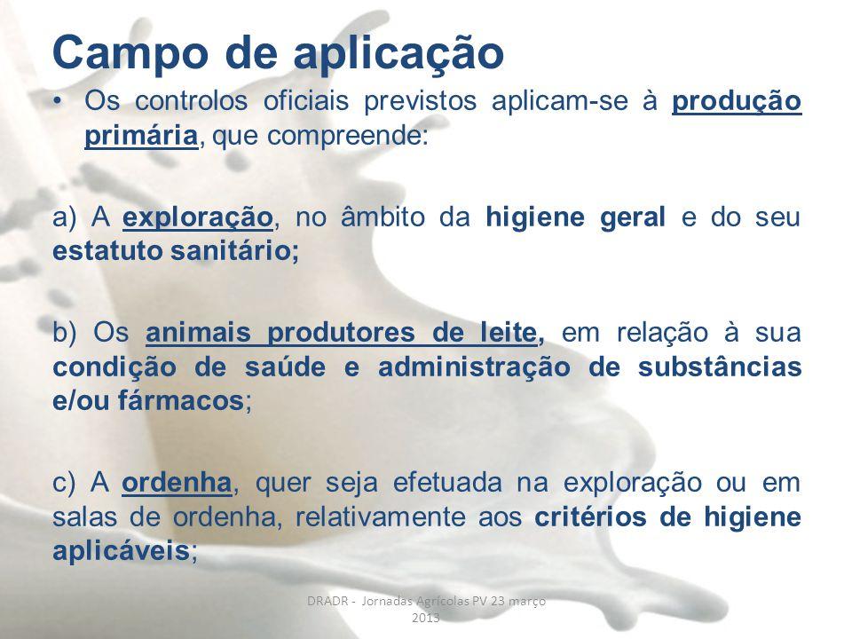 Campo de aplicação Os controlos oficiais previstos aplicam-se à produção primária, que compreende: a) A exploração, no âmbito da higiene geral e do se