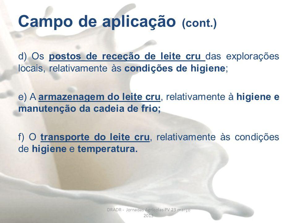 Campo de aplicação (cont.) d) Os postos de receção de leite cru das explorações locais, relativamente às condições de higiene; e) A armazenagem do lei