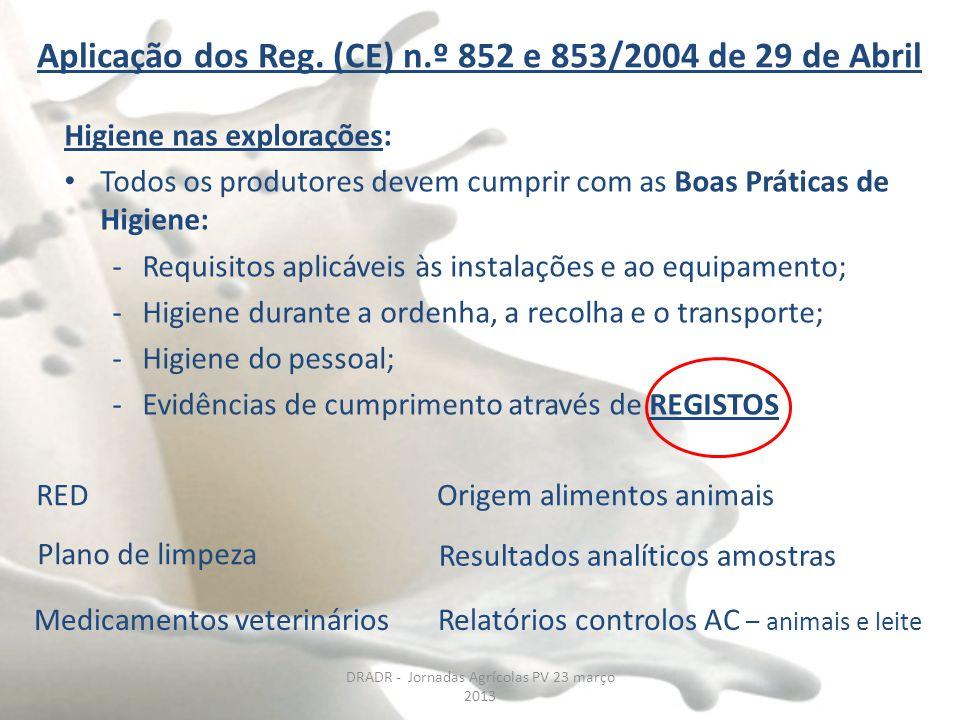 DRADR - Jornadas Agrícolas PV 23 março 2013 Aplicação dos Reg. (CE) n.º 852 e 853/2004 de 29 de Abril Higiene nas explorações: Todos os produtores dev