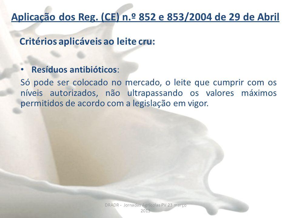 DRADR - Jornadas Agrícolas PV 23 março 2013 Aplicação dos Reg. (CE) n.º 852 e 853/2004 de 29 de Abril Resíduos antibióticos: Só pode ser colocado no m