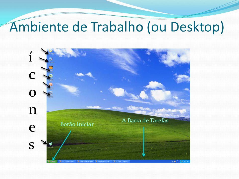 Ambiente de Trabalho (ou Desktop) íconesícones Botão Iniciar A Barra de Tarefas