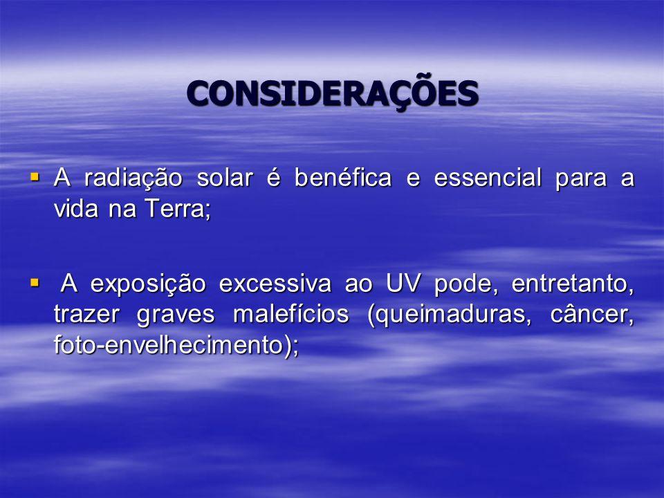 CONSIDERAÇÕES  A radiação solar é benéfica e essencial para a vida na Terra;  A exposição excessiva ao UV pode, entretanto, trazer graves malefícios (queimaduras, câncer, foto-envelhecimento);