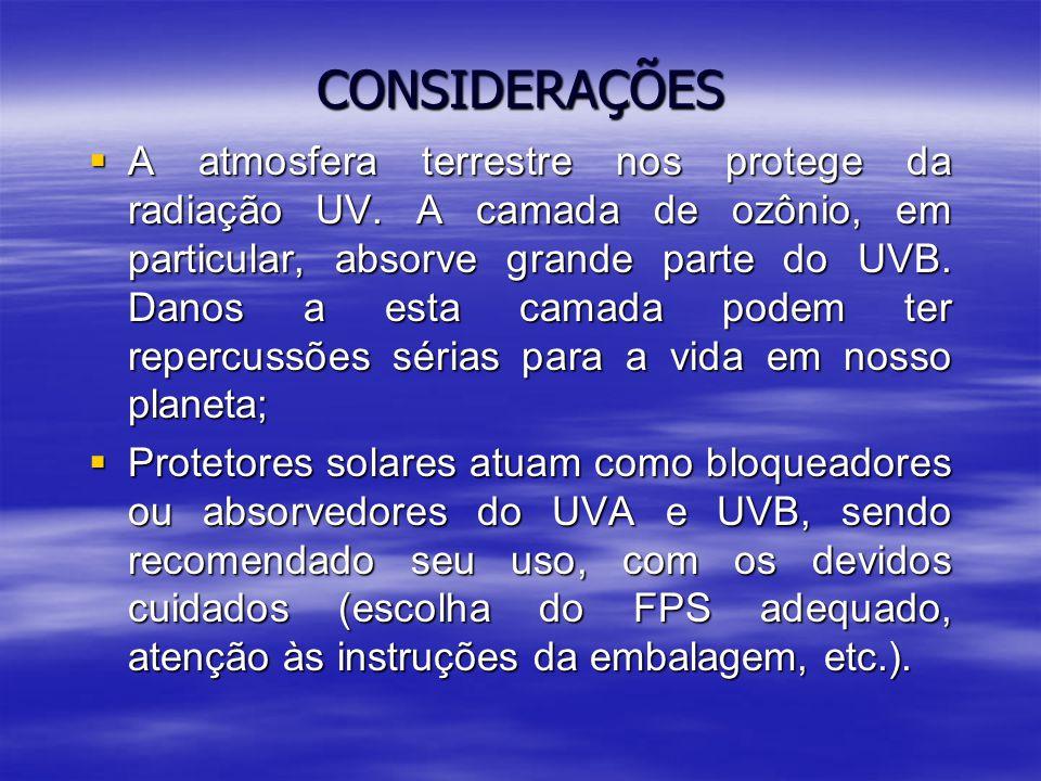 CONSIDERAÇÕES  A atmosfera terrestre nos protege da radiação UV.