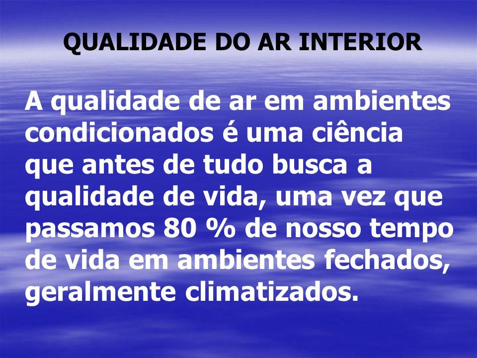 QUALIDADE DO AR INTERIOR A qualidade de ar em ambientes condicionados é uma ciência que antes de tudo busca a qualidade de vida, uma vez que passamos 80 % de nosso tempo de vida em ambientes fechados, geralmente climatizados.