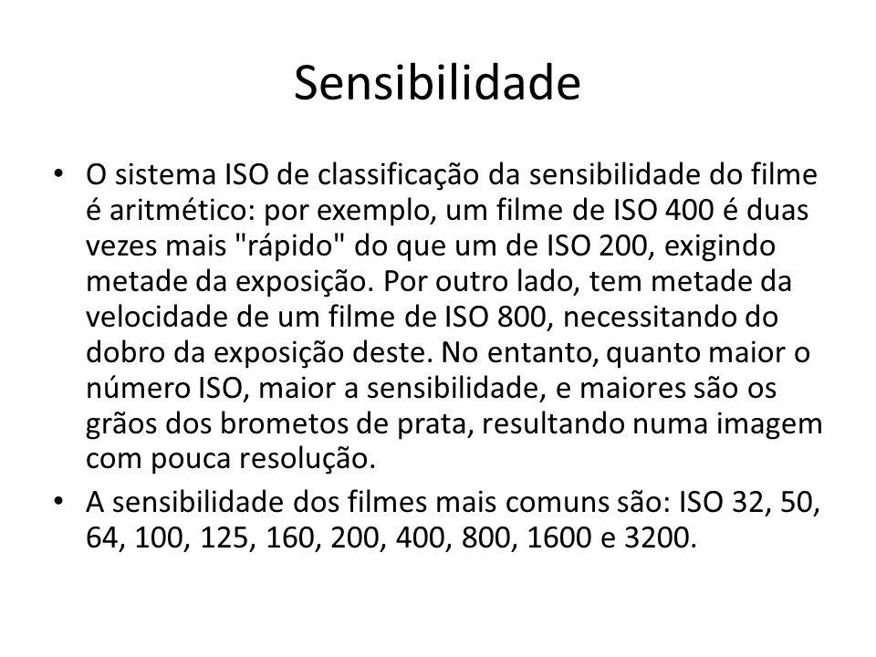Sensibilidade O sistema ISO de classificação da sensibilidade do filme é aritmético: por exemplo, um filme de ISO 400 é duas vezes mais