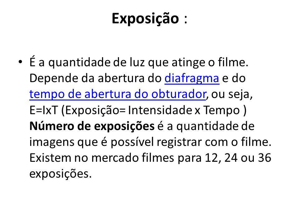 Exposição : É a quantidade de luz que atinge o filme. Depende da abertura do diafragma e do tempo de abertura do obturador, ou seja, E=IxT (Exposição=