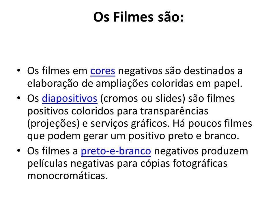 Os Filmes são: Os filmes em cores negativos são destinados a elaboração de ampliações coloridas em papel.cores Os diapositivos (cromos ou slides) são