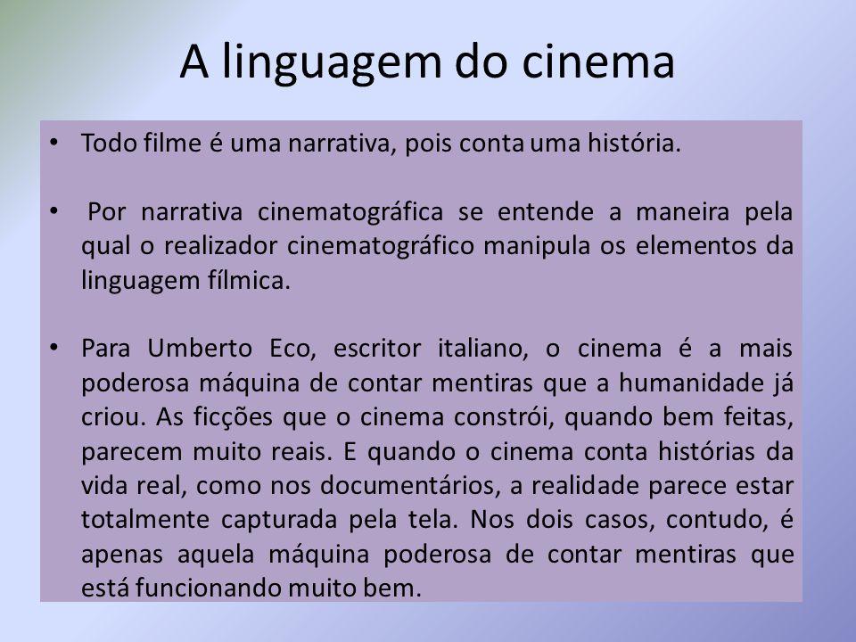 A linguagem do cinema Todo filme é uma narrativa, pois conta uma história. Por narrativa cinematográfica se entende a maneira pela qual o realizador c