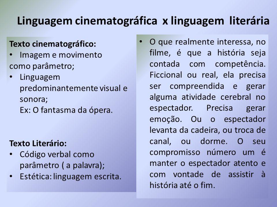 Linguagem cinematográfica x linguagem literária Texto cinematográfico: Imagem e movimento como parâmetro; Linguagem predominantemente visual e sonora; Ex: O fantasma da ópera.