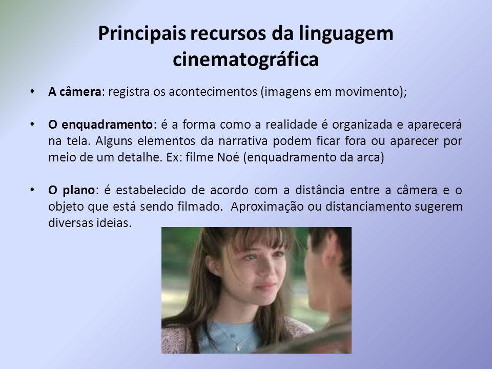Principais recursos da linguagem cinematográfica A câmera: registra os acontecimentos (imagens em movimento); O enquadramento: é a forma como a realid