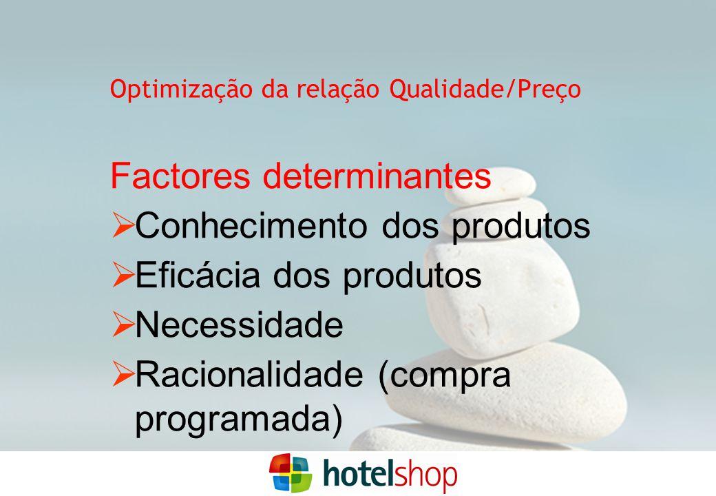 Factores determinantes  Conhecimento dos produtos  Eficácia dos produtos  Necessidade  Racionalidade (compra programada) Optimização da relação Qualidade/Preço