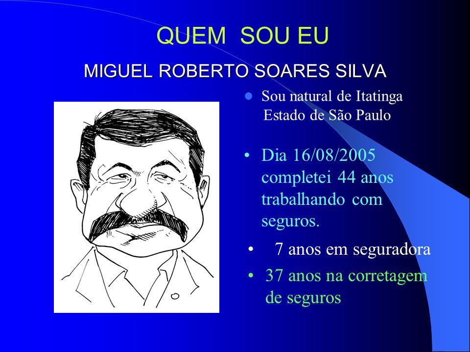 MIGUEL ROBERTO SOARES SILVA Sou natural de Itatinga Estado de São Paulo Dia 16/08/2005 completei 44 anos trabalhando com seguros.