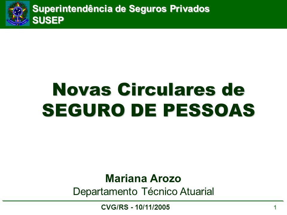 Superintendência de Seguros Privados SUSEP CVG/RS - 10/11/2005 1 Novas Circulares de SEGURO DE PESSOAS Mariana Arozo Departamento Técnico Atuarial