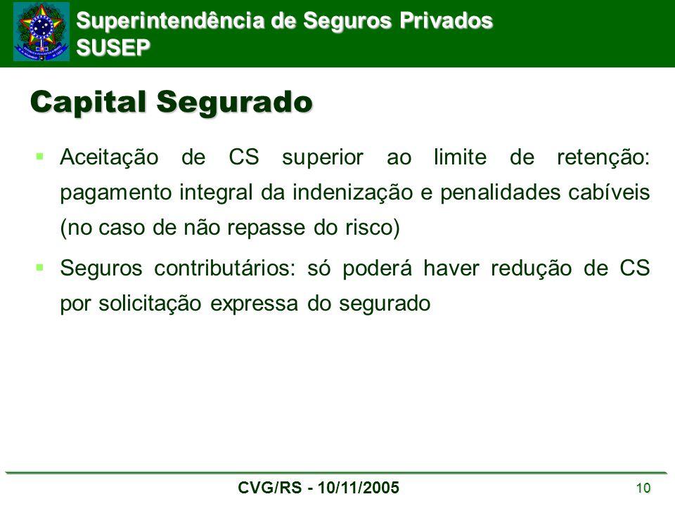 Superintendência de Seguros Privados SUSEP CVG/RS - 10/11/2005 10 Capital Segurado  Aceitação de CS superior ao limite de retenção: pagamento integra