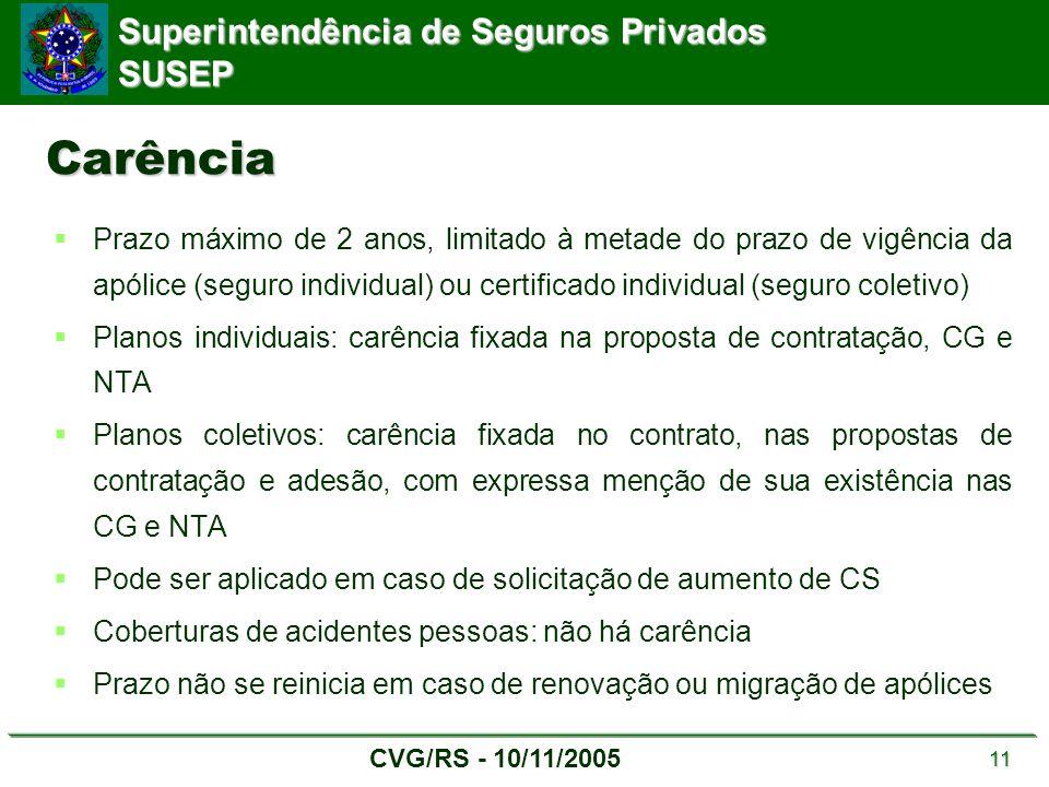 Superintendência de Seguros Privados SUSEP CVG/RS - 10/11/2005 11 Carência  Prazo máximo de 2 anos, limitado à metade do prazo de vigência da apólice