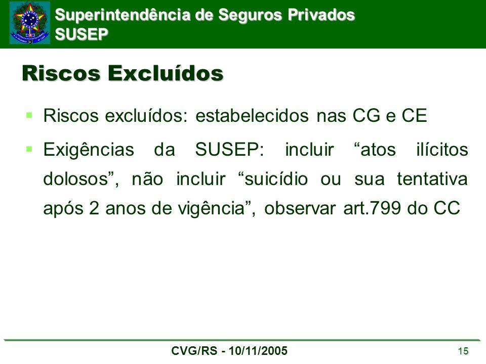 Superintendência de Seguros Privados SUSEP CVG/RS - 10/11/2005 15 Riscos Excluídos  Riscos excluídos: estabelecidos nas CG e CE  Exigências da SUSEP