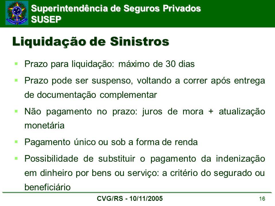 Superintendência de Seguros Privados SUSEP CVG/RS - 10/11/2005 16 Liquidação de Sinistros  Prazo para liquidação: máximo de 30 dias  Prazo pode ser