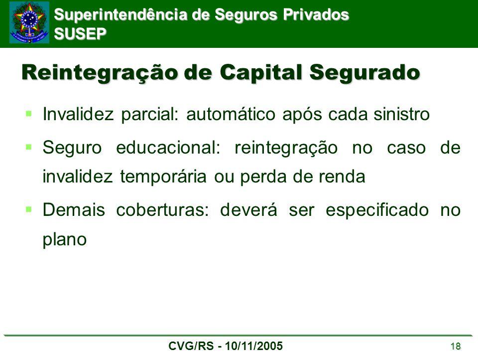 Superintendência de Seguros Privados SUSEP CVG/RS - 10/11/2005 18 Reintegração de Capital Segurado  Invalidez parcial: automático após cada sinistro