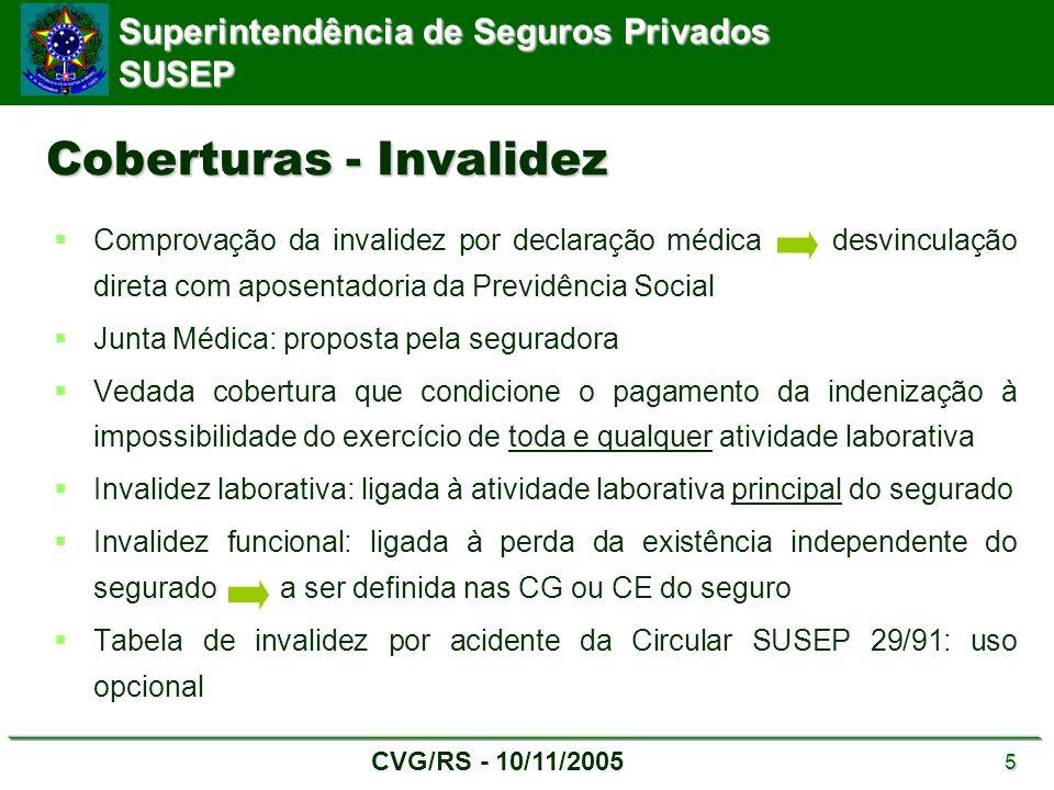 Superintendência de Seguros Privados SUSEP CVG/RS - 10/11/2005 5 Coberturas - Invalidez  Comprovação da invalidez por declaração médica desvinculação