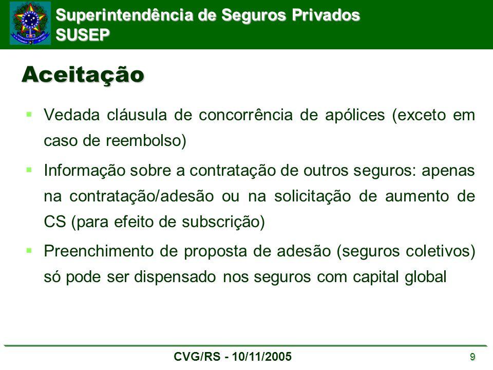 Superintendência de Seguros Privados SUSEP CVG/RS - 10/11/2005 9 Aceitação  Vedada cláusula de concorrência de apólices (exceto em caso de reembolso)