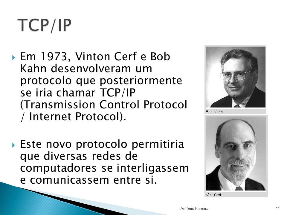  Em 1973, Vinton Cerf e Bob Kahn desenvolveram um protocolo que posteriormente se iria chamar TCP/IP (Transmission Control Protocol / Internet Protoc