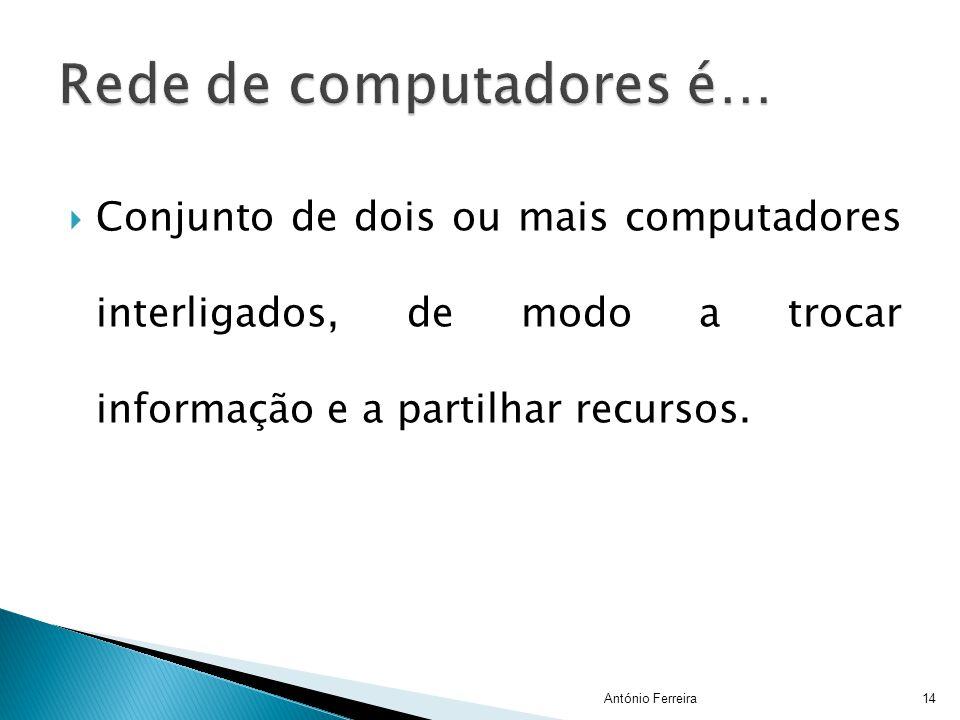 CConjunto de dois ou mais computadores interligados, de modo a trocar informação e a partilhar recursos. 14António Ferreira