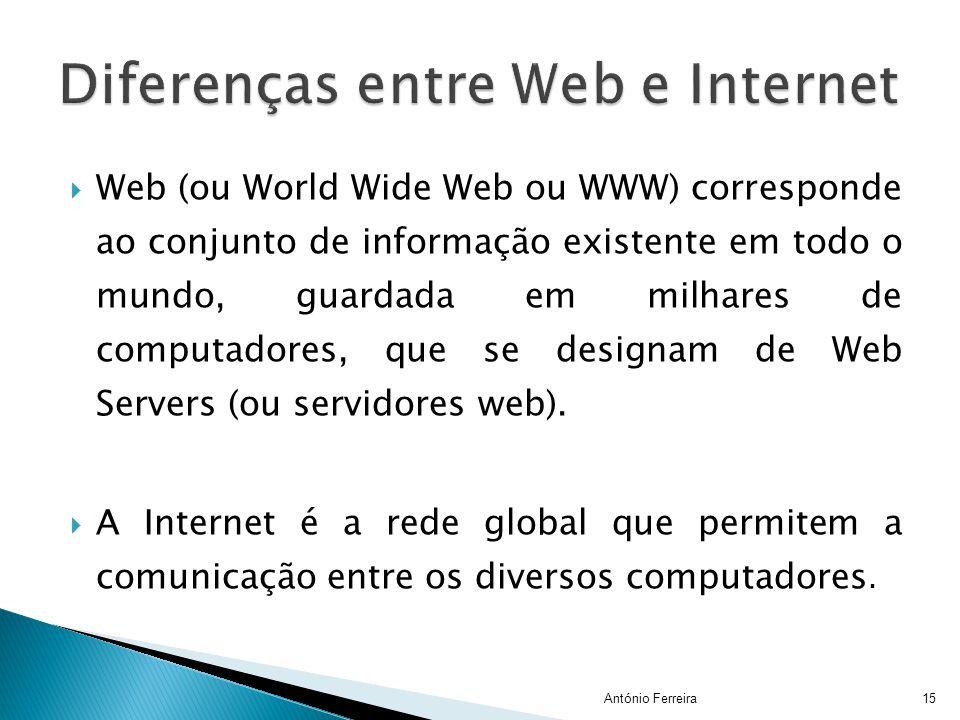 WWeb (ou World Wide Web ou WWW) corresponde ao conjunto de informação existente em todo o mundo, guardada em milhares de computadores, que se design