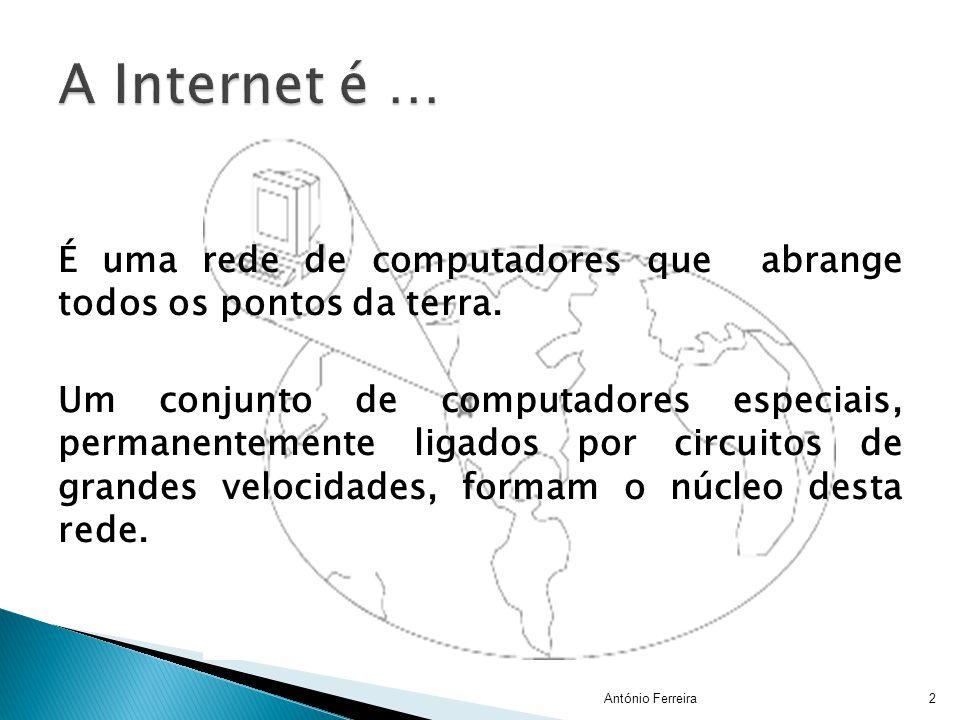 É uma rede de computadores que abrange todos os pontos da terra. Um conjunto de computadores especiais, permanentemente ligados por circuitos de grand