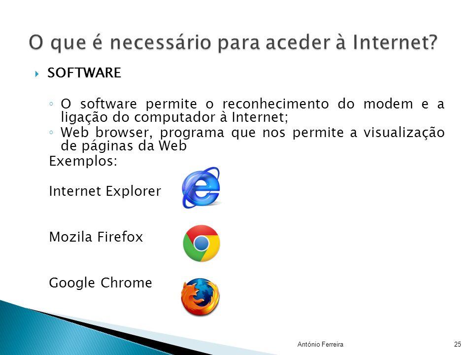 SSOFTWARE ◦O◦O software permite o reconhecimento do modem e a ligação do computador à Internet; ◦W◦Web browser, programa que nos permite a visualiza