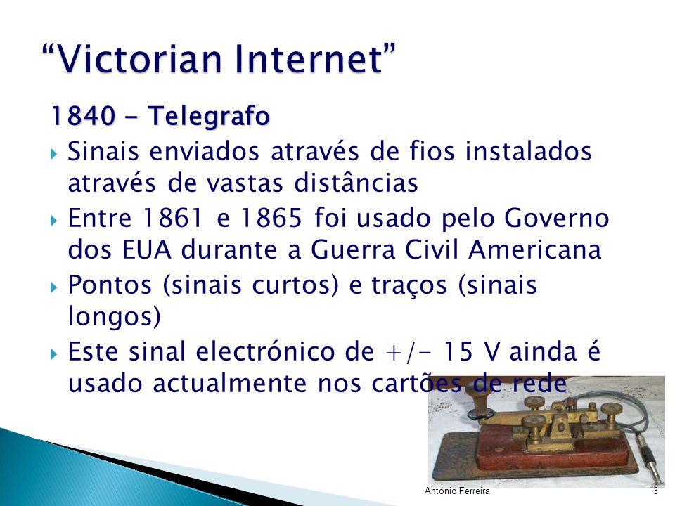 1840 - Telegrafo  Sinais enviados através de fios instalados através de vastas distâncias  Entre 1861 e 1865 foi usado pelo Governo dos EUA durante