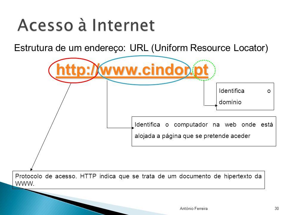 Identifica o computador na web onde está alojada a página que se pretende aceder Protocolo de acesso. HTTP indica que se trata de um documento de hipe