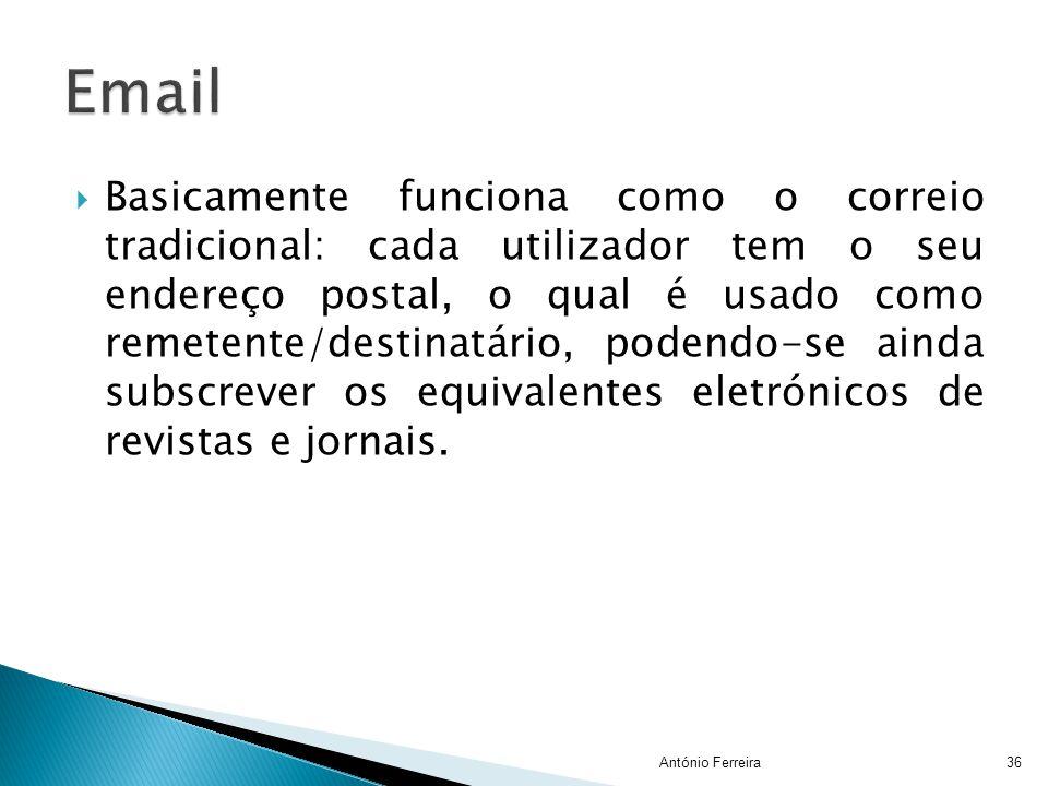  Basicamente funciona como o correio tradicional: cada utilizador tem o seu endereço postal, o qual é usado como remetente/destinatário, podendo-se a