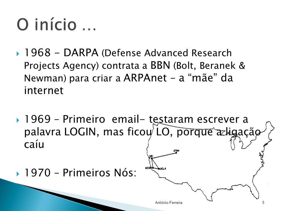 " 1968 - DARPA (Defense Advanced Research Projects Agency) contrata a BBN (Bolt, Beranek & Newman) para criar a ARPAnet – a ""mãe"" da internet  1969 –"