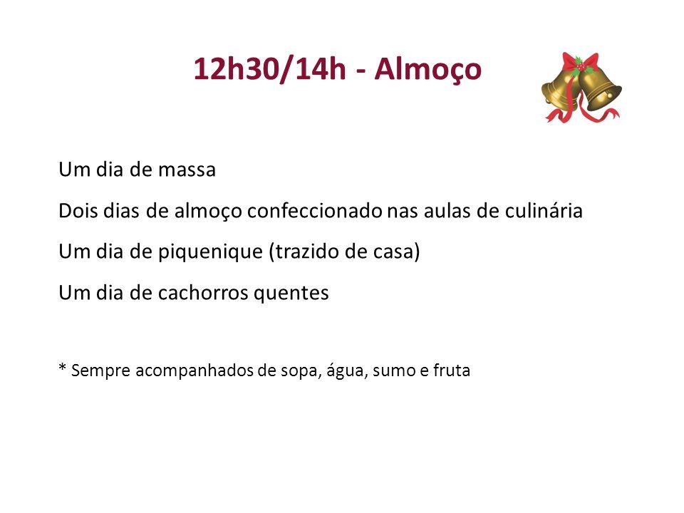 12h30/14h - Almoço Um dia de massa Dois dias de almoço confeccionado nas aulas de culinária Um dia de piquenique (trazido de casa) Um dia de cachorros quentes * Sempre acompanhados de sopa, água, sumo e fruta