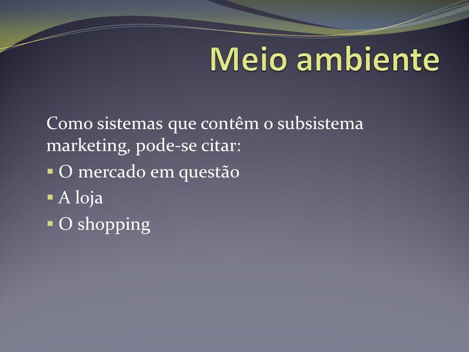 Como sistemas que contêm o subsistema marketing, pode-se citar:  O mercado em questão  A loja  O shopping