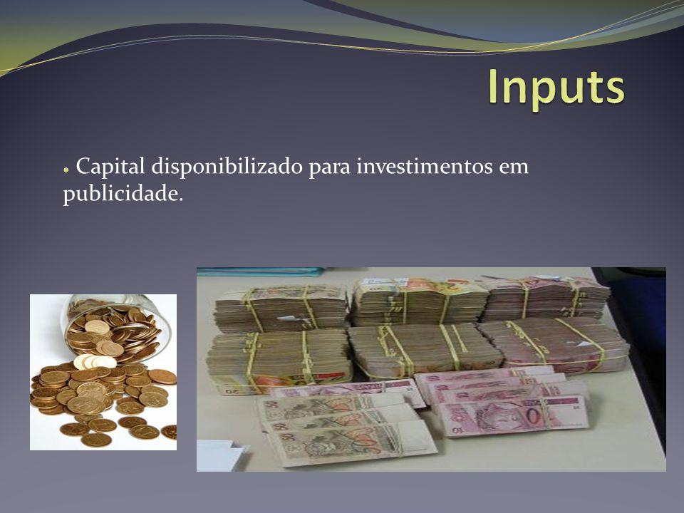 ● Capital disponibilizado para investimentos em publicidade.