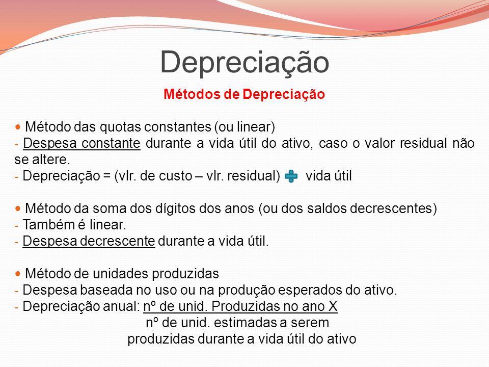 Depreciação Métodos de Depreciação Método das quotas constantes (ou linear) - Despesa constante durante a vida útil do ativo, caso o valor residual nã