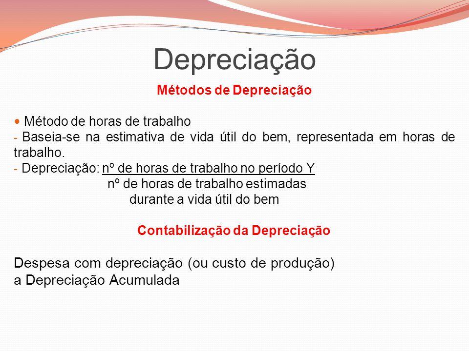 Depreciação Métodos de Depreciação Método de horas de trabalho - Baseia-se na estimativa de vida útil do bem, representada em horas de trabalho. - Dep