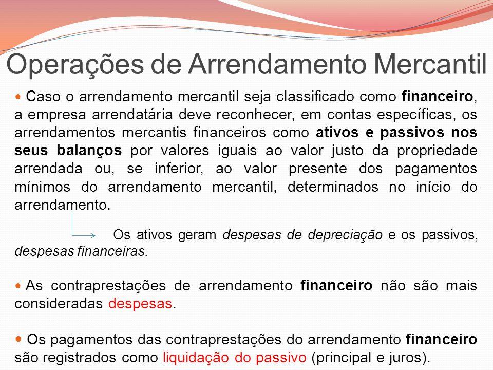 Operações de Arrendamento Mercantil Caso o arrendamento mercantil seja classificado como financeiro, a empresa arrendatária deve reconhecer, em contas