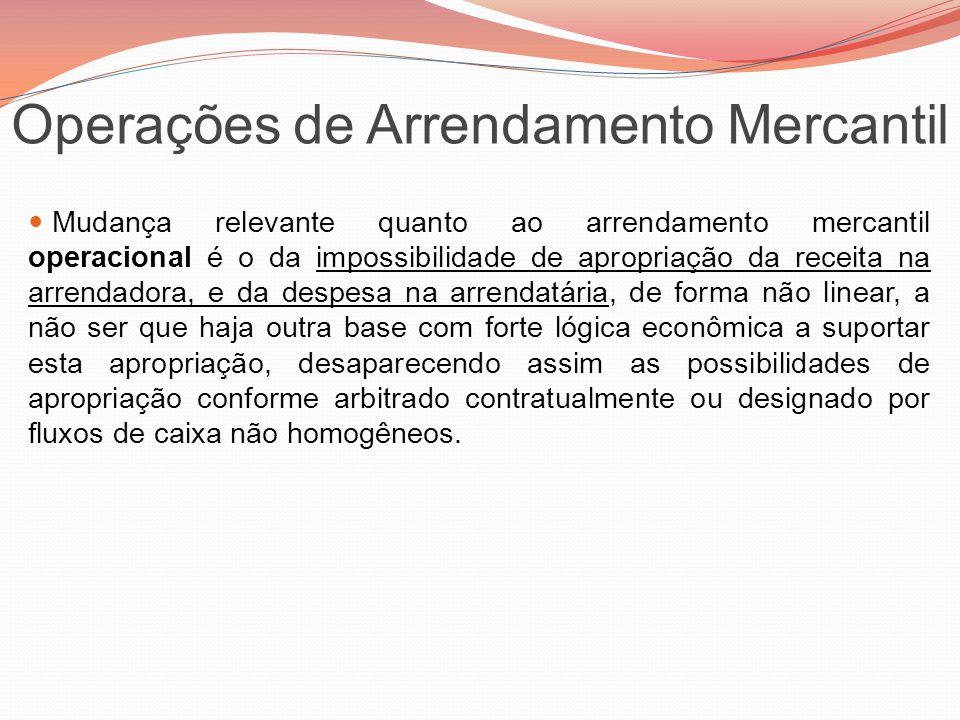 Operações de Arrendamento Mercantil Mudança relevante quanto ao arrendamento mercantil operacional é o da impossibilidade de apropriação da receita na
