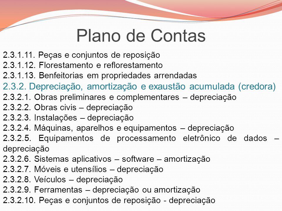 Plano de Contas 2.3.1.11. Peças e conjuntos de reposição 2.3.1.12. Florestamento e reflorestamento 2.3.1.13. Benfeitorias em propriedades arrendadas 2