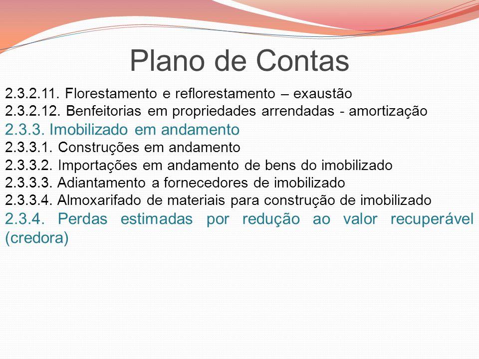 Plano de Contas 2.3.2.11. Florestamento e reflorestamento – exaustão 2.3.2.12. Benfeitorias em propriedades arrendadas - amortização 2.3.3. Imobilizad