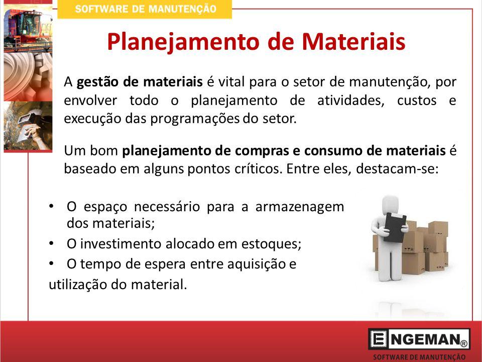 A gestão de materiais é vital para o setor de manutenção, por envolver todo o planejamento de atividades, custos e execução das programações do setor.