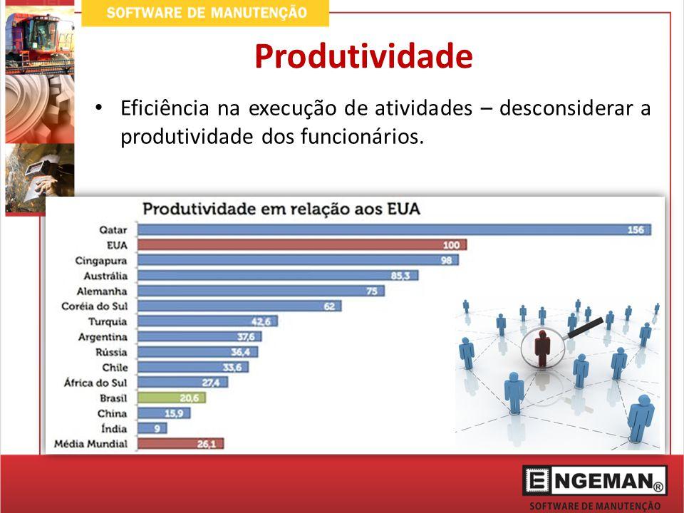 Eficiência na execução de atividades – desconsiderar a produtividade dos funcionários. Produtividade